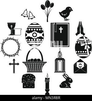 Articles de Pâques, le style simple icons set