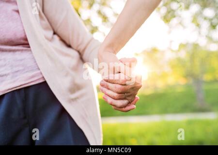 Grand-mère méconnaissable et une petite-fille à l'extérieur, sur une promenade dans la nature au printemps, se tenant la main. Banque D'Images