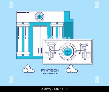 La technologie financière concept avec bank building et de l'argent Projet de loi sur fond bleu, vector illustration Banque D'Images