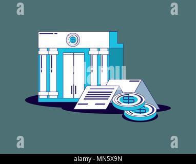 La technologie financière concept avec bank building et pièces sur fond gris, vector illustration Banque D'Images