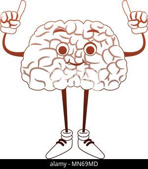 Caricature de drôles de cerveau avec les mains jusqu'à orange et blanc Banque D'Images