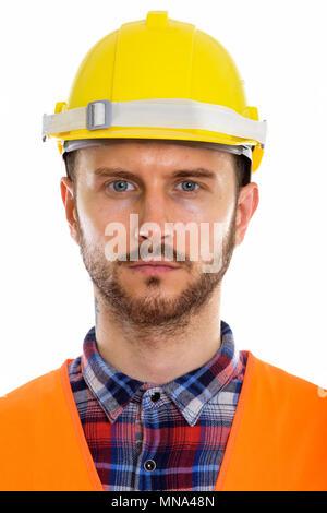 Beau jeune homme barbu construction worker Banque D'Images