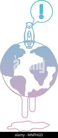 Fusion avec la terre d'avertissement de l'ours polaire au réchauffement global Banque D'Images
