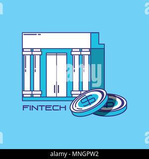 La technologie financière concept avec bank building et pièces sur fond bleu, vector illustration Banque D'Images