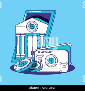 La conception de la technologie financière avec e-wallet et bank building sur fond bleu, design coloré. vector illustration Banque D'Images