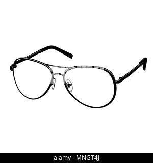 Vecteur icône lunettes télévision, logo, contours, ligne de contour dessin, illustration en noir et blanc. Accessoire de mode élégant, isolé sur fond blanc Banque D'Images