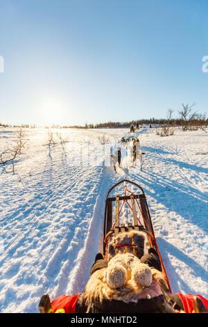 Chiens Husky s'en traîneau avec petite fille aux beaux jours d'hiver dans le Nord de la Norvège Banque D'Images