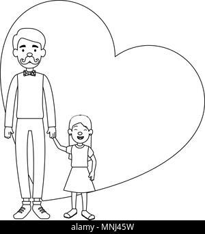 Le père mignon avec sa fille en plein coeur