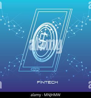 Smartphone avec argent concept vector illustration design fintech Banque D'Images
