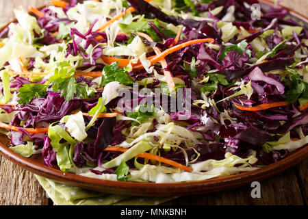 Salade de chou rouge et blanc avec des carottes, des herbes à l'huile d'olive sur une plaque horizontale. Banque D'Images