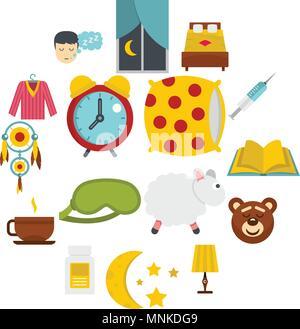 Dormir icons set dans un style plat Banque D'Images