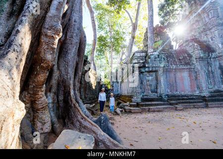 Visite de la famille Ta Prohm temple antique dans la zone archéologique d'Angkor au Cambodge Banque D'Images