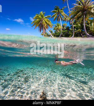 Femme nager sous l'eau claire dans les eaux tropicales, en face de l'île exotique Banque D'Images
