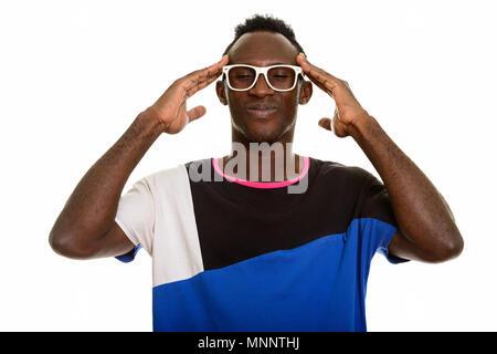 Jeune homme ayant des maux de l'Afrique noire Banque D'Images
