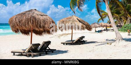 Magnifique panorama de la côte des Caraïbes à Tulum Mexique Banque D'Images