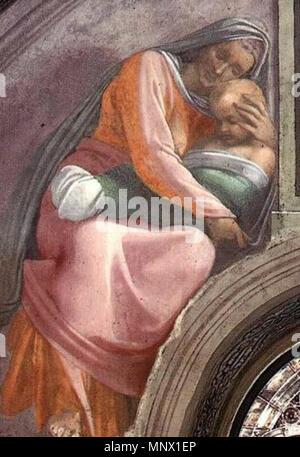 . Fresque de la Chapelle Sixtine, Michel-Ange, l'un des ancêtres du Christ . 1509. Michelangelo (1475-1564) Noms alternatifs MICHELANGELO DI LODOVICO BUONARROTI SIMONI Italien Description peintre, sculpteur, architecte, poète et inventeur Date de naissance/décès 6 Mars 1475 18 février 1564 Lieu de naissance/décès Caprese Michelangelo Rome à partir de la période de travail jusqu'à 1487 lieu de travail 1564 Florence (1487-1494), Bologne (1494-1496), Rome (1496-1501), Florence (1501-1505), Rome (1505-1506), Florence (1506-1508), Rome (1508-1516), Florence (1516-septembre 1529), Venise (septembre-novembre 1529 Banque D'Images