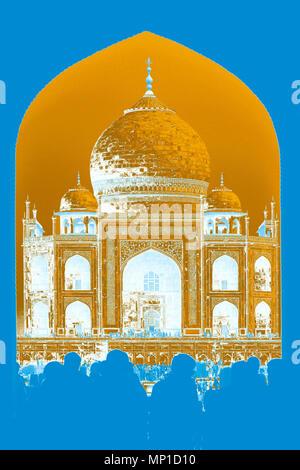 Taj Mahal, close-up vue à travers la porte d'entrée sur l'axe nord-sud (rendu en PS, duotone), Āgra, Uttar Pradesh, Inde Banque D'Images
