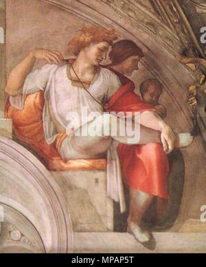 . Fresque de la Chapelle Sixtine, Michel-Ange, l'un des ancêtres du Christ. Lieu: mur d'entrée . 1509. Michelangelo (1475-1564) Noms alternatifs MICHELANGELO DI LODOVICO BUONARROTI SIMONI Italien Description peintre, sculpteur, architecte, poète et inventeur Date de naissance/décès 6 Mars 1475 18 février 1564 Lieu de naissance/décès Caprese Michelangelo Rome à partir de la période de travail jusqu'à 1487 lieu de travail 1564 Florence (1487-1494), Bologne (1494-1496), Rome (1496-1501), Florence (1501-1505), Rome (1505-1506), Florence (1506-1508), Rome (1508-1516), Florence (1516-septembre 1529), Venise Banque D'Images