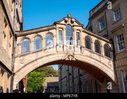 Pont des Soupirs, Skyway, Hertford College, New College Lane, Oxford, Oxfordshire, England, UK, FR. Banque D'Images