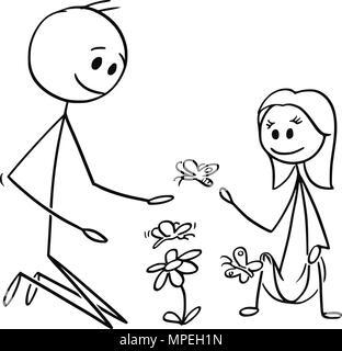 Caricature de père et fille regardant des fleurs et papillons