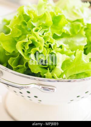 Produits frais bio laitue dans une passoire blanche. Banque D'Images