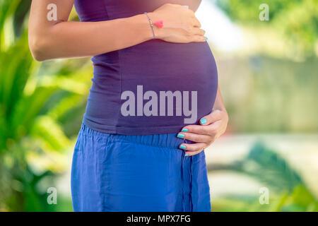 Photo Gros plan d'un ventre de femme enceinte debout dans le parc, avec douceur et amour future mère de toucher son ventre, nouveau concept de vie Banque D'Images