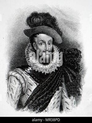 Portrait de Walter Raleigh (1552-1618) un gentleman anglais débarqué, poète, écrivain, militaire et politicien, courtisan, spy et explorer. En date du 17e siècle Banque D'Images