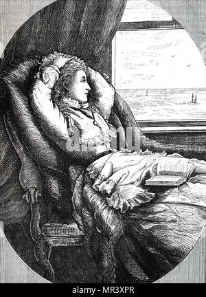 Illustration représentant une jeune femme à la recherche d'une fenêtre dans la mer. Il est allongé sur une chaise avec un livre posé sur ses genoux. En date du 19e siècle Banque D'Images