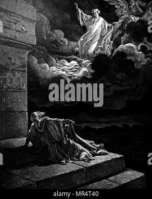 La gravure sur cuivre une scène biblique: Elisha regarde son père, Élie, transportés au ciel dans les chars fougueux d'Israël (2 Rois 2:12). En date du 19e siècle Banque D'Images