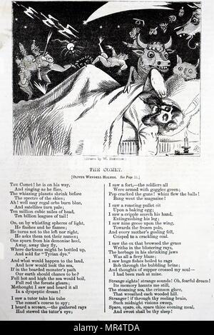"""L'illustration accompagnant le poème """"La Comète"""" par Oliver Wendell Holmes Sr.. Oliver Wendell Holmes Sr. (1809-1894) un médecin américain, poète, et polymathe. En date du 19e siècle Banque D'Images"""