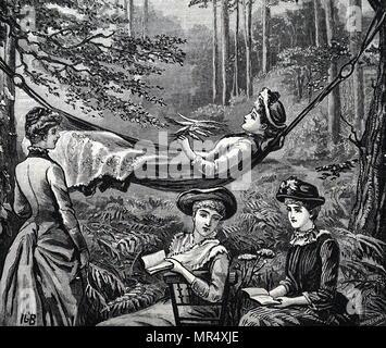 Illustration figurant des demoiselles se détendre sur un après-midi d'août. En date du 19e siècle Banque D'Images