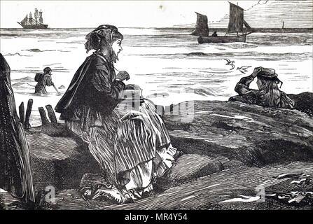 Illustration représentant une jeune femme lisant à côté de la mer. Illustré par George John Pinwell (1842-1875), un illustrateur britannique et l'eau-coloriste. En date du 19e siècle Banque D'Images