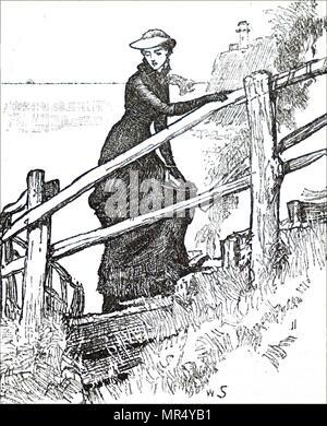 Illustration représentant une jeune femme monter les escaliers à flanc de falaise après avoir passé la journée à la plage. En date du 19e siècle Banque D'Images