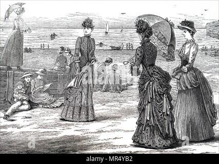 Illustration représentant un groupe de jeunes femmes de la classe supérieure de profiter d'une journée à la plage. En date du 19e siècle Banque D'Images