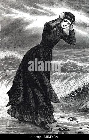 Illustration représentant une jeune femme debout à côté de la mer sur une journée particulièrement venteuse. Illustré par Everard Hopkins (1860-1928) un artiste et illustrateur britannique. En date du 19e siècle Banque D'Images