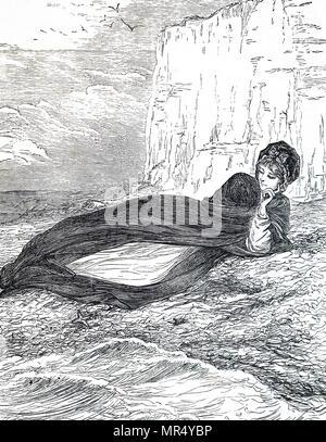 Illustration représentant une jeune femme se détendre sur la plage. Illustré par Mary Ellen Edwards (1838-1934) un artiste anglais. En date du 19e siècle Banque D'Images