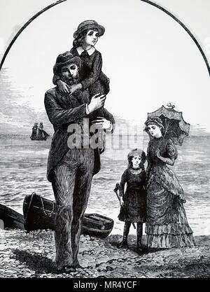 Illustration de la classe moyenne typique d'une famille victorienne au bord de la mer. Illustré par Everard Hopkins (1860-1928) un artiste et illustrateur britannique. En date du 19e siècle Banque D'Images