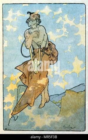 Illustration par Alphonse Mucha de 'Clio' une œuvre de l'auteur français Anatole France; 1900. Mucha (1860 - 1939), était un peintre Art Nouveau Banque D'Images