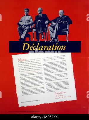 Déclaration (imprimé en français); publié par les dirigeants de l'Union soviétique, les Etats-Unis et la Grande-Bretagne après la Conférence de Téhéran dans la seconde guerre mondiale. Décembre 1943 Banque D'Images