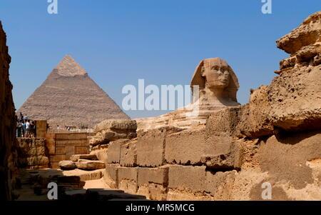 Le grand Sphinx de Gizeh situé contre la pyramide de Chéops calcaire. statue d'un sphinx couché, une créature mythique avec le corps d'un lion et la tête d'un humain. Directement en face de l'Ouest à l'Est, il se dresse sur le plateau de Gizeh, sur la rive ouest du Nil à Gizeh, Egypte. Le visage du Sphinx est généralement d'avis qu'elles représentent le Pharaon Khafré. Coupé de la base, et la forme d'origine du Sphinx a été restauré. Il mesure 238 pieds (73 m) de long (vers 2558-2532 av. J.-C.). Banque D'Images