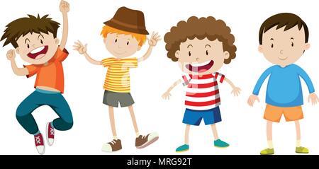 Heureux les garçons sur fond blanc illustration Banque D'Images