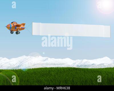 Cartoon vol d'un avion avec la publicité bannière sur pelouse, 3D Rendering Banque D'Images