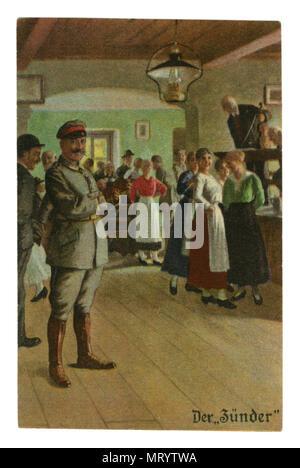 """Carte postale historique allemand: militaires-série humoristique 'Toujours' professionnel, n° 1-2 """"le détonateur"""". la première guerre mondiale 1914-1918, Allemagne"""
