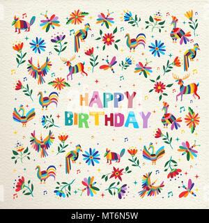 Joyeux anniversaire avec un style coloré fleurs de printemps et d'otomi animaux sur papier texture background. Idéal pour les fêtes d'invitation ou carte de vœux. E