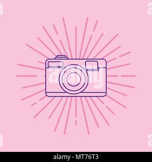 L'icône de caméra photographique sur fond rose, design coloré. vector illustration Banque D'Images