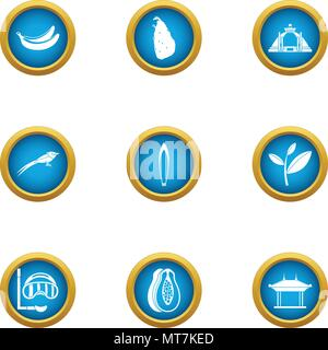 Découvrez earth icons set, style plat Banque D'Images