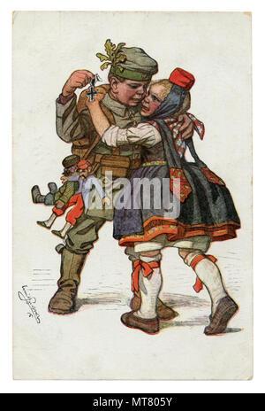 Carte postale historique allemand: les enfants comme des adultes: le soldat est revenu à sa petite amie de l'avant avec une croix de fer. L'étreinte de l'aimé.