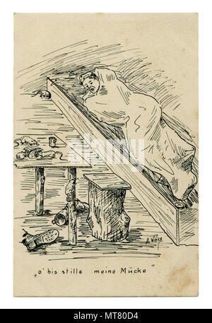 Carte postale historique allemand: croquis au crayon noir et blanc. Soldat se reposant dans l'étang. Les souris et les rats mangent les restes de pain sur la table. 1914-1918