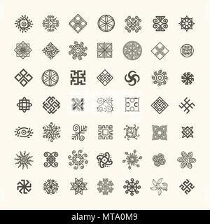 Jeu de signes géométriques ethniques. Ensemble d'icônes avec des symboles païens slaves pour votre conception Banque D'Images