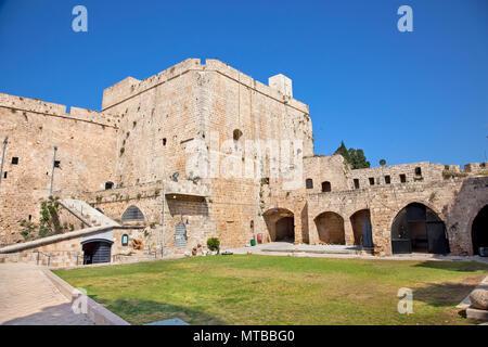 Dans l'ancien château Templier Acre, Akko, Galilée occidentale, Israël Banque D'Images